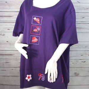 Women's  Original TY Wear Top  Sz 3X Purple